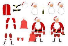 Vector illustration of a tired Santa Claus set for animation. Ha stock illustration