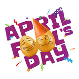 Vector illustration to April Fools Day with eggs and confetti. Royalty Free Stock Photography