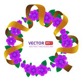 Vector illustration to The International women`s day 8 March. Round frame made of flowers with ribbon vector illustration