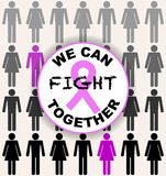 Vector illustration to World Cancer Day. Seamless pattern with p. Eople as background, badge with pink ribbon and inscription `we can fight together`. Men and Stock Photo