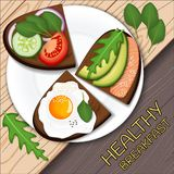 Toast with avocado slices, fried egg and salmon with, served on a plate. Healthy food. For menu design, royalty free illustration
