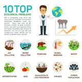 Vector illustration of top 10 ecological problems. Stock Photography