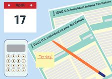 Vector illustration, top view of 2019, 2018 Tax Form 1040 and the envelope, a calendar and calculator. Tax Day on April 17. The ca. Lendar and the 1040 income vector illustration