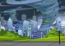 Vector Illustration tornado in modern city destroy buildings. Hurricane huge wind in skyscrapers, waterspout twister royalty free illustration