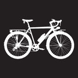 Vector illustration of touring bike in flat style. Vector illustration of touring bike. Road racing bicycle flat style design element. White bicycle template on Stock Photography