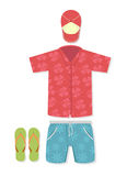Vector illustration of tourist outfit Stock Images