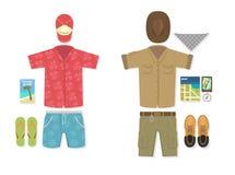 Vector illustration of tourist vs traveler Royalty Free Stock Image