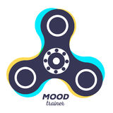 Vector illustration of toy for improvement of attention span.. Creative concept of fidget spinner with color trace of rotation and text on white background Stock Photography