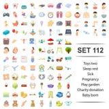 Vector illustration of toy, sleep, rest, sick, pregnancy playground charity donation baby born icon set. Vector illustration of toy, sleep, rest, sick vector illustration