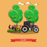 Vector illustration of tractor plowing soil in flat style Stock Photos