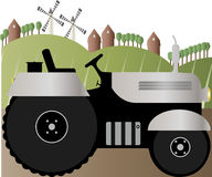 Vector illustration of a tractor on the road. Farm Stock Photography