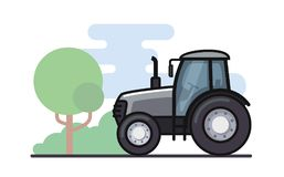 Vector illustration of a tractor. In a flat style Stock Photo