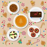 Holiday dinner table. Vector illustration of traditional Christmas desserts in flat style  on light background. Holiday food on a table view from above. Top view Stock Images