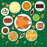 Holiday dinner table. Vector illustration of traditional Christmas dishes in flat style  on green background. Holiday food on a table view from above. Top view Stock Photo