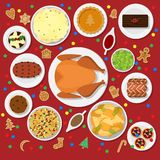 Holiday dinner table. Vector illustration of traditional Christmas dishes in flat style isolated on red background. Holiday food on a table view from above. Top Stock Images