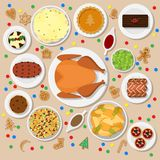 Holiday dinner table. Vector illustration of traditional Christmas dishes in flat style  on light background. Holiday food on a table view from above. Top view Stock Photos