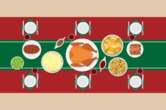 Holiday dinner table. Vector illustration of traditional Christmas dishes in flat style. Top view at table setting. Main course and garnish. Perfect for New Year Stock Images