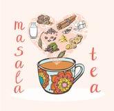 Vector illustration of indian tea Royalty Free Stock Photo