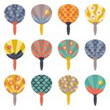 Vector illustration of traditional  Japanese Fans Uchiwa. All objects are conveniently grouped and easily editable Royalty Free Stock Photos