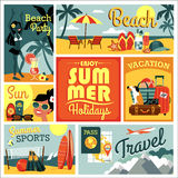 Vector illustration of traditional summer vacation. Royalty Free Stock Photography