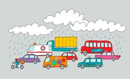 Vector illustration of a traffic jam in a rainy day. Cartoon sty. Le vector illustration