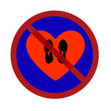 Vector illustration of a traffic sign prohibiting trample shoes heart flat style Stock Images
