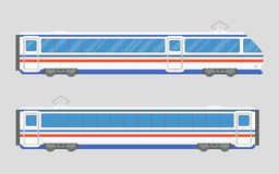 vector illustration of a train in a flat style. Locomotive and wagon Stock Photography
