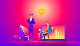 Free Vector Illustration. Training Of Office Staff. Increase Sales And Skills. Team Thinking And Brainstorming. Analytics Of Stock Image - 135568811