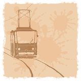 Vector illustration. Tramway. Vector retro illustration. Tramway sketch Royalty Free Stock Images
