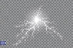Vector illustration. Transparent light effect of electric ball lightning. Magic plasma energy vector illustration