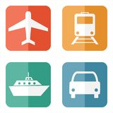 Vector illustration of transport related icons Royalty Free Stock Photos