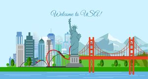 Vector illustration of travel concept, Welcome to USA. United States of America poster with most famous buildings. royalty free illustration
