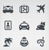 Travel icon set. Vector illustration of travel on light background Stock Photography