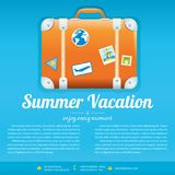 Vector Illustration of Travel Suitcase. On blue background with words Summer Vacation. Brochure template design Royalty Free Stock Image