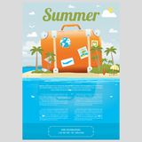 Vector Illustration of travel suitcase on the sea island. Vector Illustration of the sea island beach background with travel suitcase and word SUMMER. Brochure Stock Photos