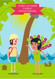 Vector illustration. The traveler met an elegant beautiful girl in a bathing suit on the ocean. Pedra Alvarish Cabral met an elegant beautiful girl in a bathing Stock Images