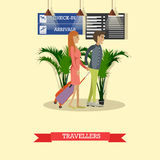 Vector illustration of travellers with baggage in flat style. Vector illustration of travellers man and woman with baggage. Travel by plane concept design Stock Image