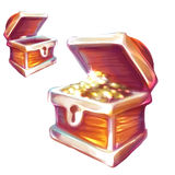 Vector illustration of treasure chest with and Royalty Free Stock Photography