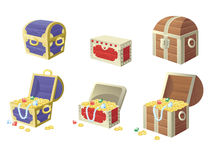 Vector illustration of treasure chest full of gold Royalty Free Stock Images