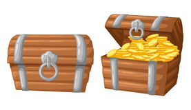 Vector illustration. treasure of gold coins on dark background Wooden Chest set for game interface money coin vector illustration