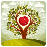Vector illustration of tree with branches in the shape of heart. With an apple inside, beautiful spring landscape. Love and motherhood idea image Royalty Free Stock Image