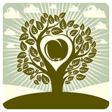 Vector illustration of tree with branches in the shape of heart Royalty Free Stock Images