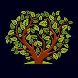 Vector illustration of tree with decorative leaves and branches Royalty Free Stock Photo