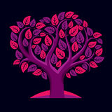 Vector illustration of tree with decorative leaves and branches Stock Photography