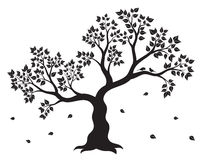 Vector illustration of tree with leaves and two birds in black color Royalty Free Stock Images