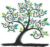 Vector Illustration silhouette Tree with Roots in white background royalty free illustration