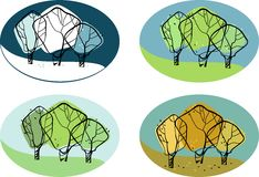 Vector illustration of a tree seasons Stock Photos