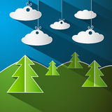 Vector Illustration of Trees, Clouds and Blue Sky Royalty Free Stock Photography