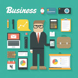 Vector illustration: Trendy Business Flat Icons Set Royalty Free Stock Image