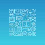 Vector illustration in trendy linear style Royalty Free Stock Image